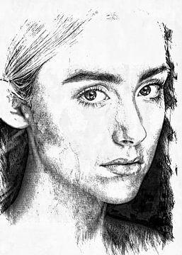 Porträt - junge Frau Bleistiftzeichnung in schwar-weiß von KalliDesignShop