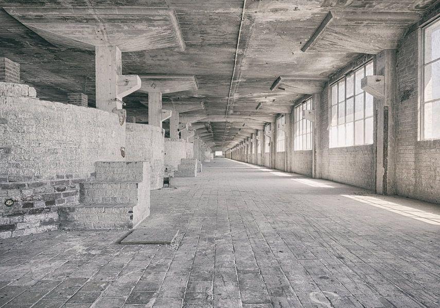 Verlaten plekken: Sphinx fabriek Maastricht Eiffelgebouw bassin en vensters.