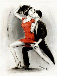 Lateinamerikanisches Tanzpaar gemalt