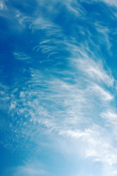 Sterke winden vormen cirruswolken met een diepe blauwe lucht van Jan Brons