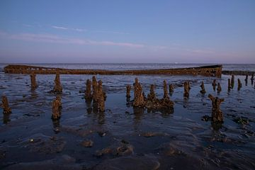 Scheepswrak bij zonsopkomst bij de Waddenzee van Gert Hilbink