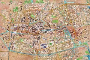 Olieverf kaart van Leeuwarden