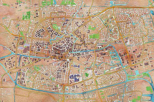 Olieverf kaart van Leeuwarden van