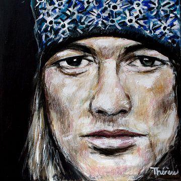 Porträtgemälde von Axl Rose von Guns N' Roses. von Therese Brals
