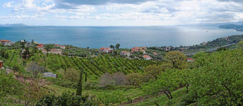 Evening over the Sicilian North Coast van Gisela Scheffbuch