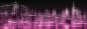 Stad Vormen SKYLINE van MANHATTAN EN de BROOKLYN BRIDGE   roze