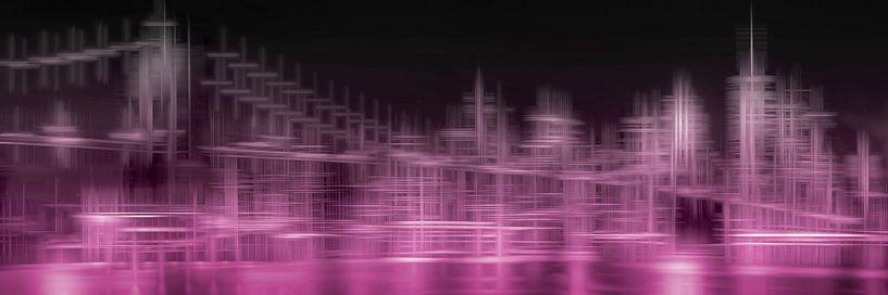 Stad Vormen SKYLINE van MANHATTAN EN de BROOKLYN BRIDGE   roze van Melanie Viola