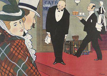 Echtgenoot en vrouw en twee obers, Johann Georg van Caspel van Vintage Afbeeldingen