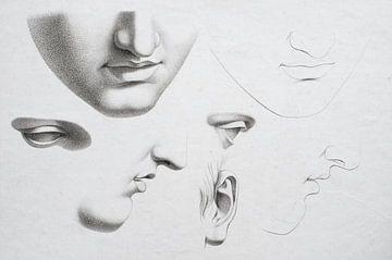 Alte Kopfstudie in verschiedenen Positionen in schwarz/weiß, von Henk Vrieselaar