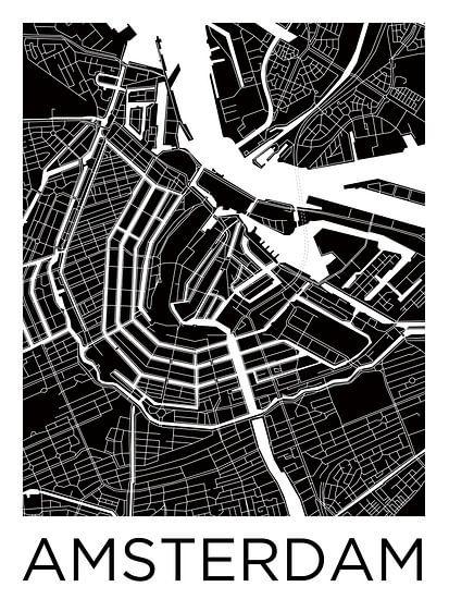 Amsterdam Grachtengordel | Stadskaart ZwartWit