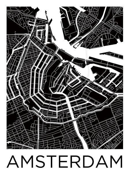 Amsterdam Grachtengordel | Stadskaart ZwartWit van Wereldkaarten.Shop