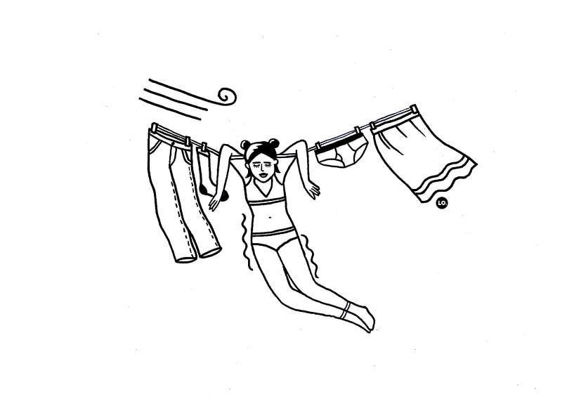 Mädchen auf der Wäscheleine von Lola Vogels