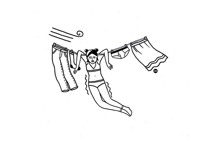 Meisje aan de waslijn van Lola Vogels
