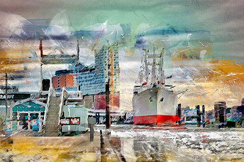 Hamburg, Elbphilharmonie und Museumsschiff Cap San Diego von Peter Roder