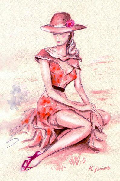 Erotische Aquarel Retro-Styled - Nostalgie van Marita Zacharias