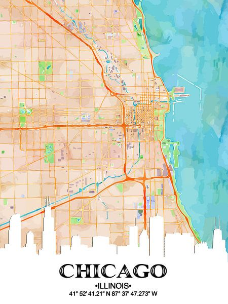 Chicago Illinois van Printed Artings