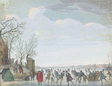 Winterlandschaft mit Eiscreme, Louis Chalon,