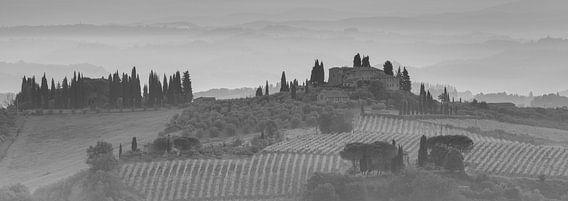 Monochrome Tuscany in 6x17 format, landschap nabij San Gimignano II van Teun Ruijters