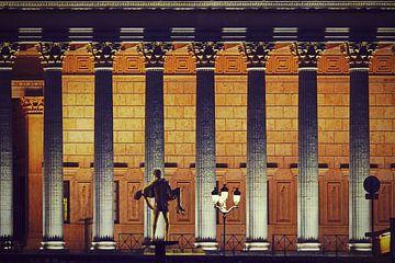 Fassade des Palais de Justice in Lyon mit seinen Säulen, bei Nacht von Carolina Reina