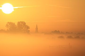 Zonsopkomst landschap met mist over de weilanden bij Nijkerk van Bobsphotography