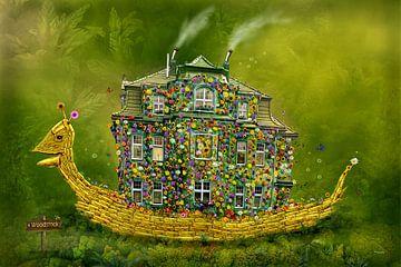 De slak met bloemen huis aan Woodstock ! van Stefan teddynash