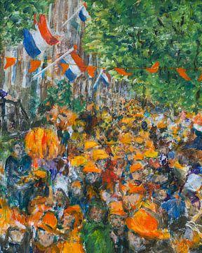 Oranje boven Koningsdag feest gracht Amsterdam van Paul Nieuwendijk