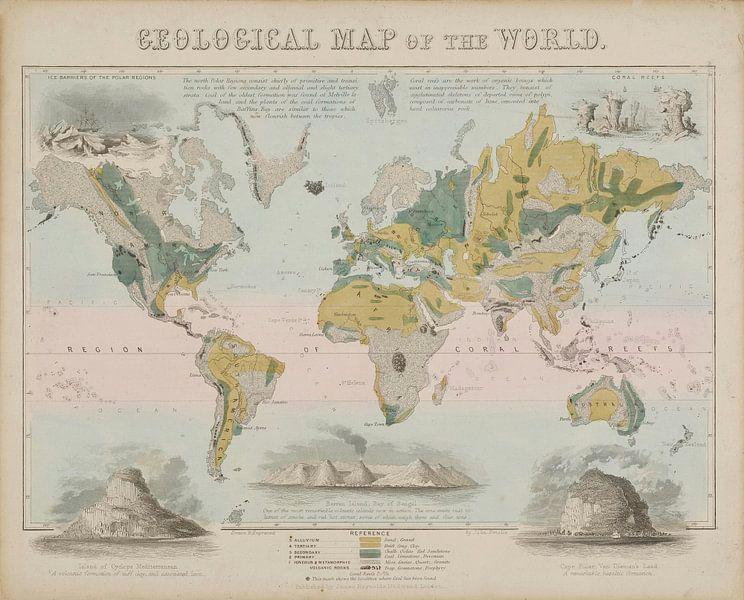 Geografisch schema: Geologische kaart van de wereld, John Emslie.... van Meesterlijcke Meesters