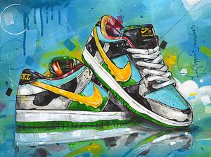 Nike sb dunk low Ben & Jerry's Chunky Dunky schilderij van Jos Hoppenbrouwers