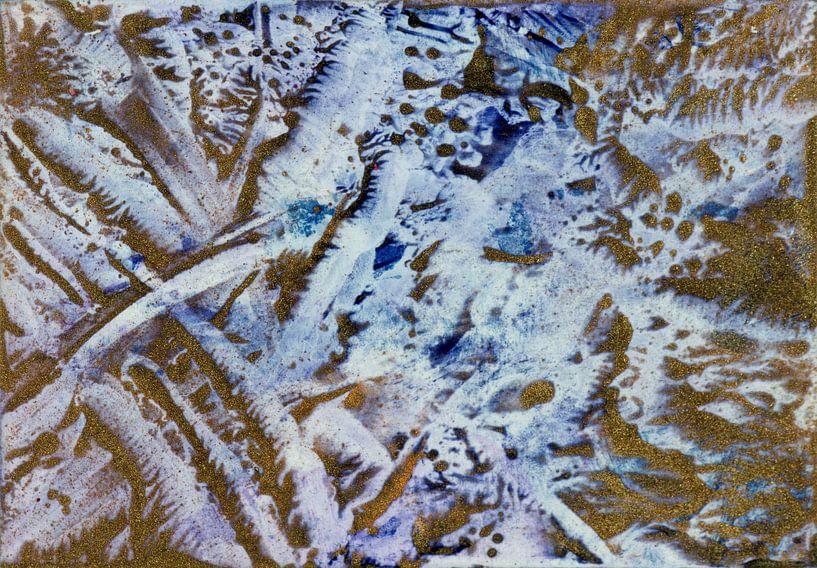 Encaustic Art blauw wit zwart grijs geel van Erica de Winter
