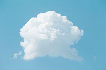 Een enkele witte pluizige wolk aan de blauwe hemel in de volle zomer van John Quendag
