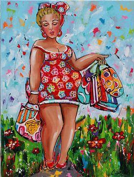 Shopping Lady van Vrolijk Schilderij