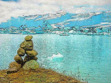 IJsland: steenman bij het ijsmeer van Frans Blok