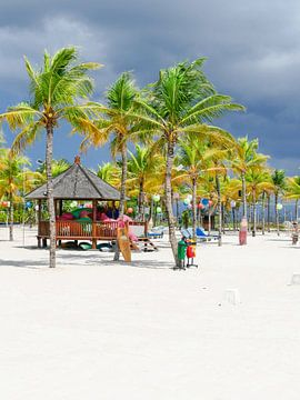 Wit strand met palmen op Bali van Petra Brouwer