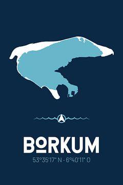 Borkum | Design-Landkarte | Insel Silhouette von ViaMapia