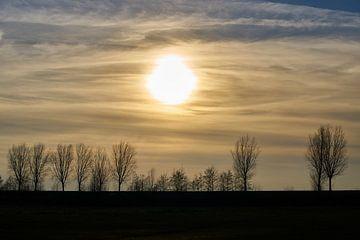 Untergehende Sonne auf dem Deich von Geert van Kuyck