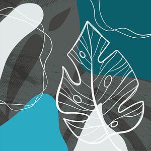 Stilistische Blätter, Formen und Linien: Blau, Grau und Petrol