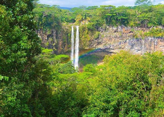 Regenboog bij Chamarel Waterval op Mauritius van Stefanie de Boer