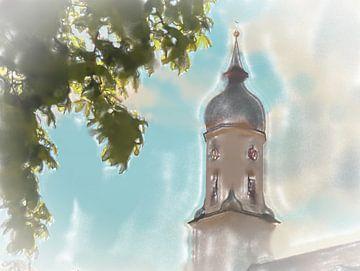 Tour de l'église en plein soleil sur Frank Heinz