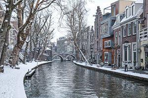 A winter scene of the snow covered Twijnstaat a/d Werf, in Utrecht city, the Netherlands