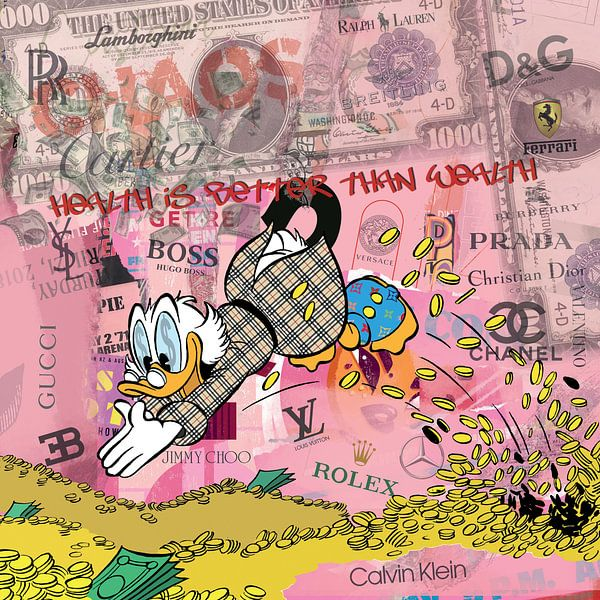 Health is Better than Wealth (Dagobert Duck) van Rene Ladenius Digital Art
