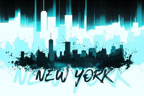 Graphic Art NYC Skyline II | cyan