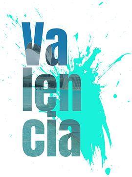 Lettrage de la ville de Valence avec une touche de couleur sur LuCreator