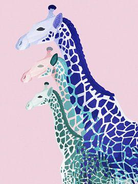 Giraffes in Roze van Goed Blauw