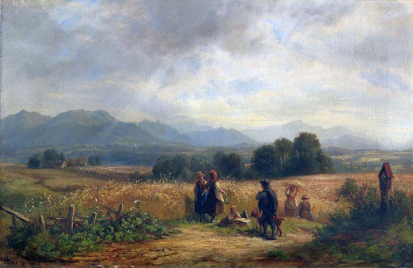 Oberbayern bei Habach, Erntetag, ADOLF HEINRICH LIER, Um 1860 von Atelier Liesjes