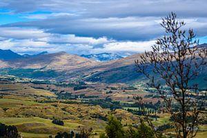 Uitzicht over het dal, Lake County, Nieuw Zeeland van