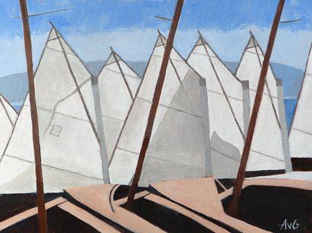Zeilschool in Nice Fr. van Antonie van Gelder Beeldend kunstenaar