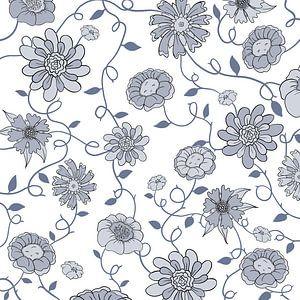 Modernes England - weiß-blaue Blumen von Studio Hinte