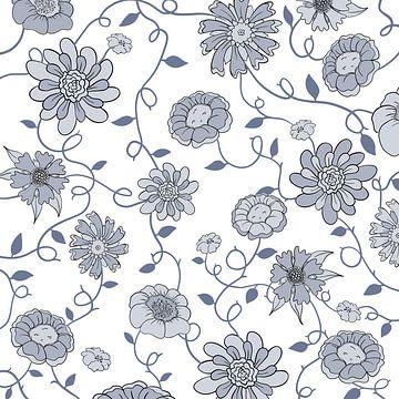 Modern Engeland - wit blauw bloemen van Studio Hinte