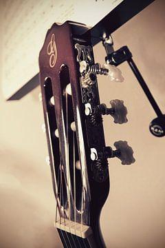 Close-up van een gitaar van Nannie van der Wal