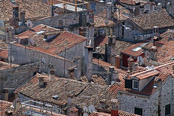 Een wirwar van rood gekleurde daken in een zuidelijk havenstadje in Istrië. van Gert van Santen